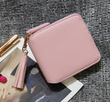 Top quality Square women coin purses holders wallet,leather female money designer tassel wallets famous brand women wallet - Hespirides Gifts - 4