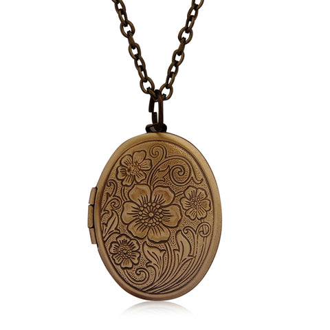 Oval Carved Flower stripe Locket Pendant Necklace Women Vintage Ancient Brass Opening Photo Box Jewelry