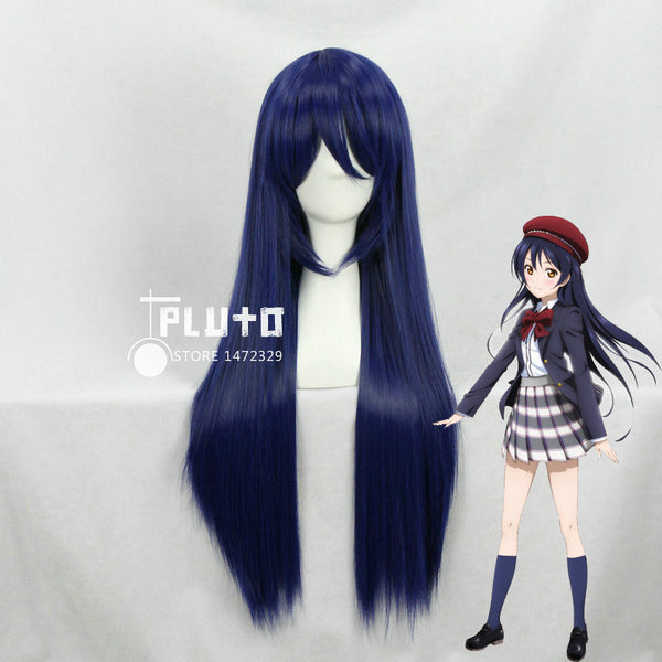 Love Live ! LoveLive! Sonoda Umi Cosplay Wigs Mixed Blue Hair Straight Long 80cm Anime Cos Wig Pluto P348F - Hespirides Gifts