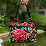 National Trend Women Bags Handmade Double Faced Flower Embroidered Canvas Embroidery Ethnic Shoulder Bags Handbag - Hespirides Gifts - 1