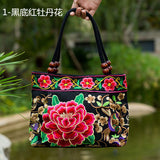 National Trend Women Bags Handmade Double Faced Flower Embroidered Canvas Embroidery Ethnic Shoulder Bags Handbag - Hespirides Gifts - 10