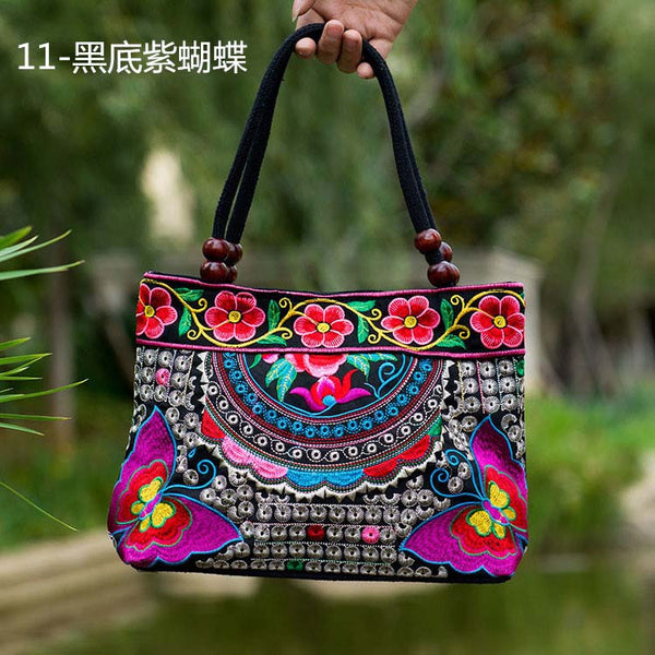 National Trend Women Bags Handmade Double Faced Flower Embroidered Canvas Embroidery Ethnic Shoulder Bags Handbag - Hespirides Gifts - 3
