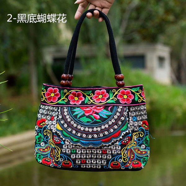 National Trend Women Bags Handmade Double Faced Flower Embroidered Canvas Embroidery Ethnic Shoulder Bags Handbag - Hespirides Gifts - 5