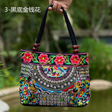 National Trend Women Bags Handmade Double Faced Flower Embroidered Canvas Embroidery Ethnic Shoulder Bags Handbag - Hespirides Gifts - 12