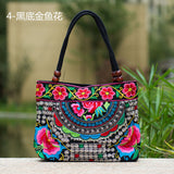 National Trend Women Bags Handmade Double Faced Flower Embroidered Canvas Embroidery Ethnic Shoulder Bags Handbag - Hespirides Gifts - 6