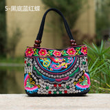 National Trend Women Bags Handmade Double Faced Flower Embroidered Canvas Embroidery Ethnic Shoulder Bags Handbag - Hespirides Gifts - 4