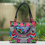 National Trend Women Bags Handmade Double Faced Flower Embroidered Canvas Embroidery Ethnic Shoulder Bags Handbag - Hespirides Gifts - 11