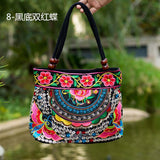 National Trend Women Bags Handmade Double Faced Flower Embroidered Canvas Embroidery Ethnic Shoulder Bags Handbag - Hespirides Gifts - 2