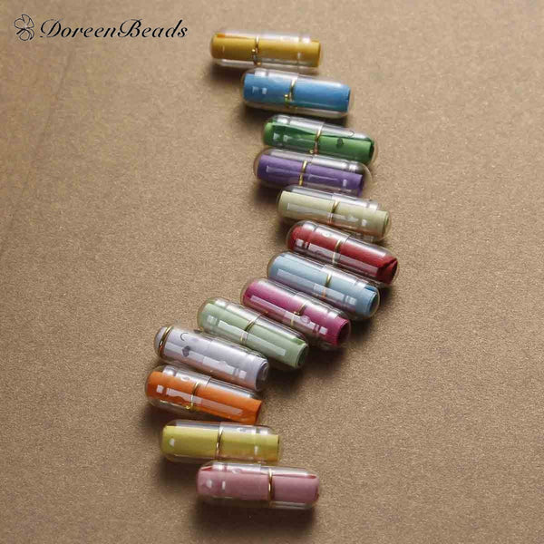 Hot Creative Love Letter Capsule Mini Gift Box Wish Bottle With Paper Scrip Secret Words For Lovers Plastic Box 21mm 10PCs Mixed - Hespirides Gifts