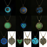 Glow In The Dark Pendant Necklace Gift Glowing Luminous Vintage Necklaces Random color Steampunk Pretty Magic Round Fairy Locket - Hespirides Gifts - 1