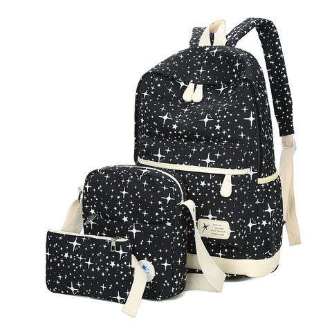 Fashion Star Women Canvas Backpack Schoolbags For Girl Teenagers Casual Travel Bags Rucksack Cute Printing Children 3pcs/set