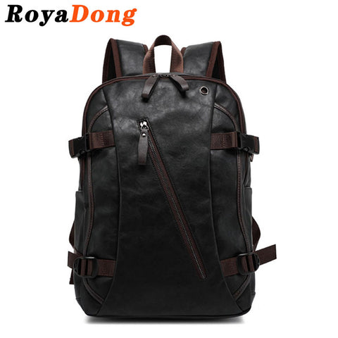 RoyaDong Men's Backpack Pu Leather Tactical Backpack Laptop Backpacks Travel Lay Bag Camping Hiking Rucksack Bagpack - Hespirides Gifts - 1