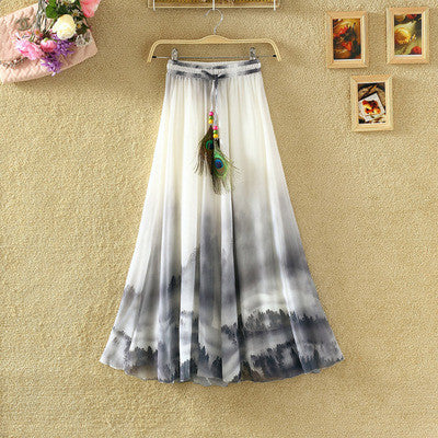 UWBACK New Summer Style Maxi Skirt Women Long Print Bohemian Chiffon Skirt Femalem Slim Floral Boho Beach SKirt Women TB980 - Hespirides Gifts - 3