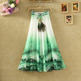 UWBACK New Summer Style Maxi Skirt Women Long Print Bohemian Chiffon Skirt Femalem Slim Floral Boho Beach SKirt Women TB980 - Hespirides Gifts - 5