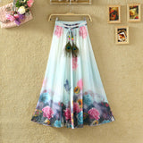 UWBACK New Summer Style Maxi Skirt Women Long Print Bohemian Chiffon Skirt Femalem Slim Floral Boho Beach SKirt Women TB980 - Hespirides Gifts - 2