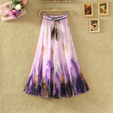 UWBACK New Summer Style Maxi Skirt Women Long Print Bohemian Chiffon Skirt Femalem Slim Floral Boho Beach SKirt Women TB980 - Hespirides Gifts - 4