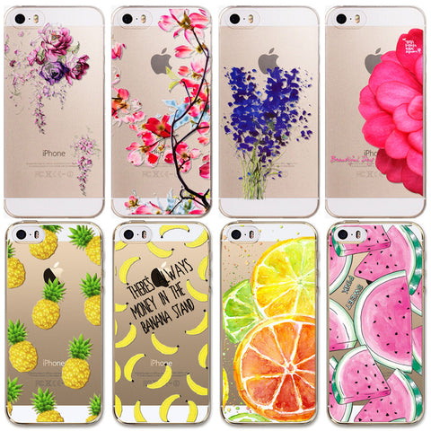 For Apple iPhone 5 5S SE Case New Arrival Hot Soft TPU Flowers Friuts Girls Painted Phone Skin Transparent Clear Back Case Cover - Hespirides Gifts - 1