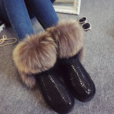 Women's Natural Real Fox Fur Snow Boots 100% Genuine Leather women Boots Female Winter Shoes - Hespirides Gifts - 1
