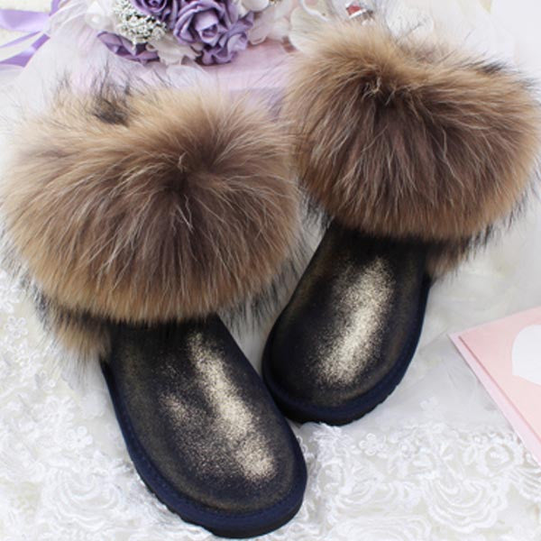 Women's Natural Real Fox Fur Snow Boots 100% Genuine Leather women Boots Female Winter Shoes - Hespirides Gifts - 3