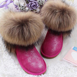 Women's Natural Real Fox Fur Snow Boots 100% Genuine Leather women Boots Female Winter Shoes - Hespirides Gifts - 7