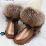 Women's Natural Real Fox Fur Snow Boots 100% Genuine Leather women Boots Female Winter Shoes - Hespirides Gifts - 4