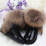 Women's Natural Real Fox Fur Snow Boots 100% Genuine Leather women Boots Female Winter Shoes - Hespirides Gifts - 9