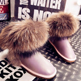 Women's Natural Real Fox Fur Snow Boots 100% Genuine Leather women Boots Female Winter Shoes - Hespirides Gifts - 8