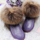 Women's Natural Real Fox Fur Snow Boots 100% Genuine Leather women Boots Female Winter Shoes - Hespirides Gifts - 6