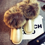 Women's Natural Real Fox Fur Snow Boots 100% Genuine Leather women Boots Female Winter Shoes - Hespirides Gifts - 2