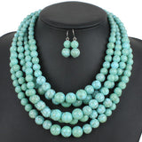 multi stand necklace turquoise color plastic resin bead women statement necklace trendy chains necklaces party jewelry 6510