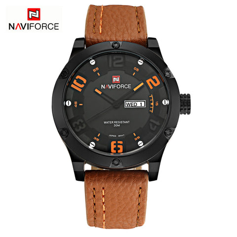 NAVIFORCE Wathces Men Fashion Casual Leather Strap Analog Men's Quartz Watch Waterproof Dive Wristwatch relogio masculino - Hespirides Gifts - 1