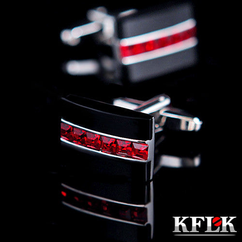 KFLK Jewelry HOT HOT shirt cufflink for mens gift Brand cuff button Red Crystal cuff link High Quality abotoaduras - Hespirides Gifts