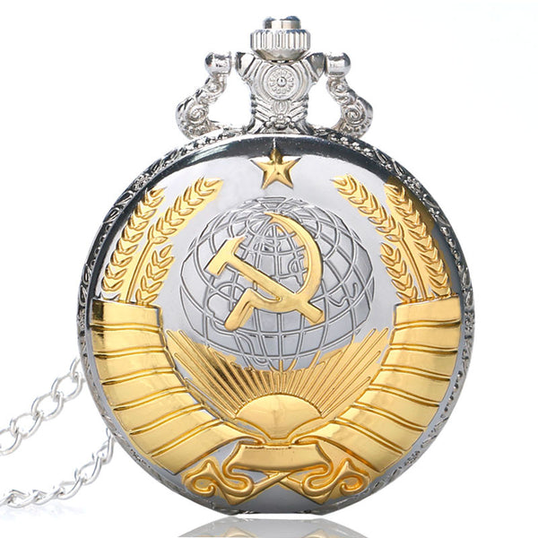 New Soviet Sickle hammer Style Quartz Pocket Watch Men women Vintage Bronze Pendant P380 - Hespirides Gifts - 2