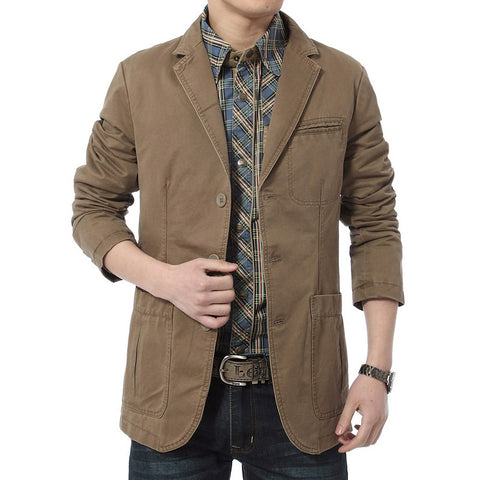 NIAN JEEP 2015 Men's casual brand high quality 100% cotton khaki blazer coat man spring suit slim blazers autumn black coats 623 - Hespirides Gifts - 1