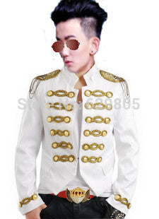 Fashion Stage Wear Performance Jacket  Black White Paillette Male Singer Slim Epaulet Clothes Men's Costume White Coat - Hespirides Gifts