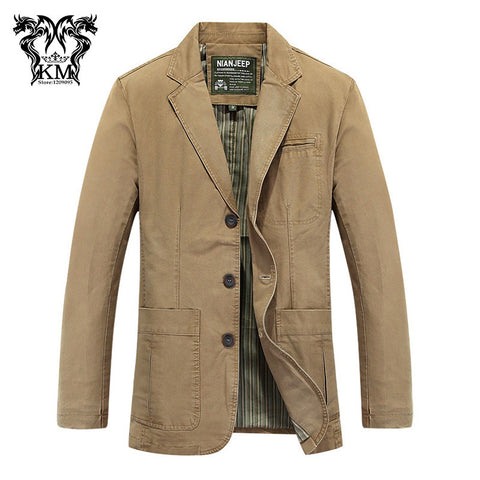 High quality M-4XL Men's casual brand 100% pure cotton khaki blazer coat man spring suit coats male black slim blazers #621 - Hespirides Gifts - 1