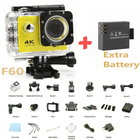 "F60 Allwinner V3 4K/30fps WiFi Action Camera Full HD 1080P 2.0""LCD Diving 30M go Waterproof pro Sport DV Two Batteries - Hespirides Gifts"
