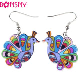 Bonsny drop peacock earrings acrylic dangle new spring summer girls woman fashion jewelry accessories cute animal design - Hespirides Gifts - 1
