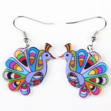 Bonsny drop peacock earrings acrylic dangle new spring summer girls woman fashion jewelry accessories cute animal design - Hespirides Gifts - 4