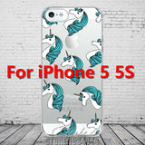 Cute Cartoon Unicorn Phone Cases Cover For iPhone 5 5s SE Soft TPU Protective Coque Fundas - Hespirides Gifts - 7