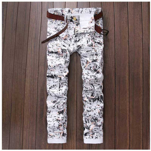 Personality Style Men White Printed Jeans Calca Masculina Slim Pencil Pants Fashion Night Club Hip Hop Slim Biker Jeans Trousers - Hespirides Gifts