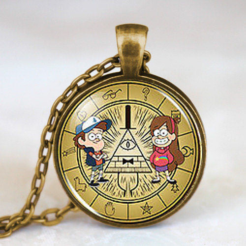 New Steampunk Drama Gravity Falls Mysteries BILL CIPHER WHEEL Party Time Pendant Necklace dr doctor who 1pcs/lot chain mens toy - Hespirides Gifts