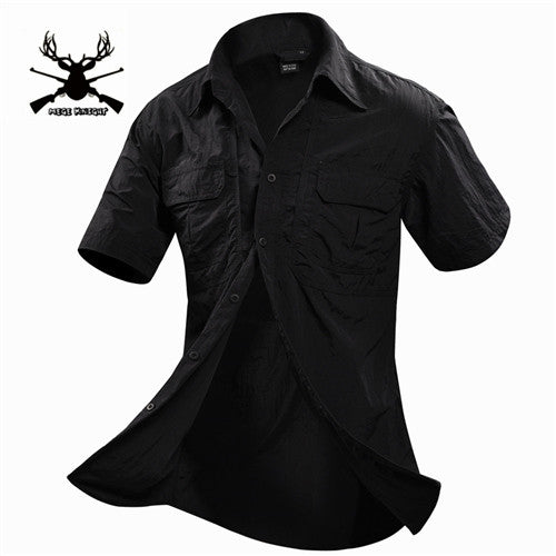 MEGE Summer Men Shirt Military Men Short Sleeve Shirt Casual Shirt Mens Brand Social Clothing Chemise Homme Camisa Masculina 2XL - Hespirides Gifts - 5