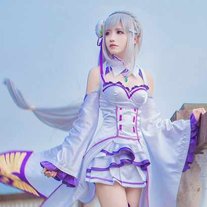 Re:Life In A Different World From Zero Emilia Cos Wig Silver White Hair Straight Long 100cm Anime Cosplay Wigs Pluto P406A - Hespirides Gifts