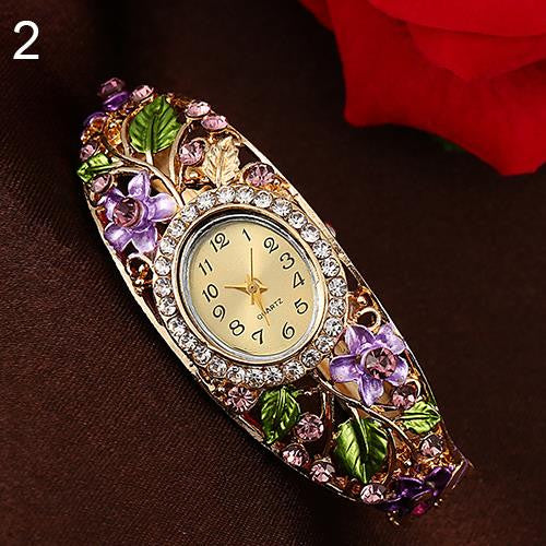 New Women's Lady Beauty Crystal Colored Alloy Flower Bangle Bracelet Watch Analog Quartz 181 G6TN 92KC - Hespirides Gifts - 3