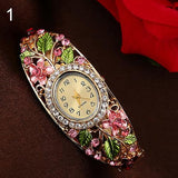 New Women's Lady Beauty Crystal Colored Alloy Flower Bangle Bracelet Watch Analog Quartz 181 G6TN 92KC - Hespirides Gifts - 7