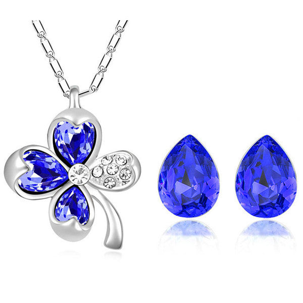 new leaf clover water tear drop summer women party 18K white Gold plated pendant necklace earrings fashion jewelry sets 9551 - Hespirides Gifts - 4