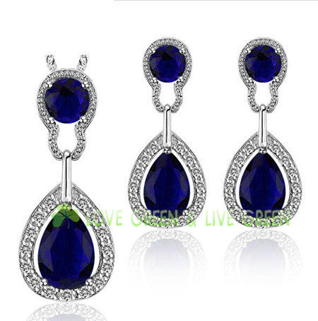 Fashion brand jewelry set for bridal bridesmaid wedding accessories 18k gold plated Austrian Crystal tear drop jewelry set 99882 - Hespirides Gifts - 4