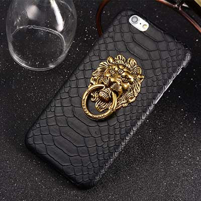 Luxury 3D Lion Head Case For iphone 6S 6 Plus Metal Ring Holder Stand Phone Cases For iPhone 6S Plus 5 5S Snake Hard Back Cover - Hespirides Gifts - 2