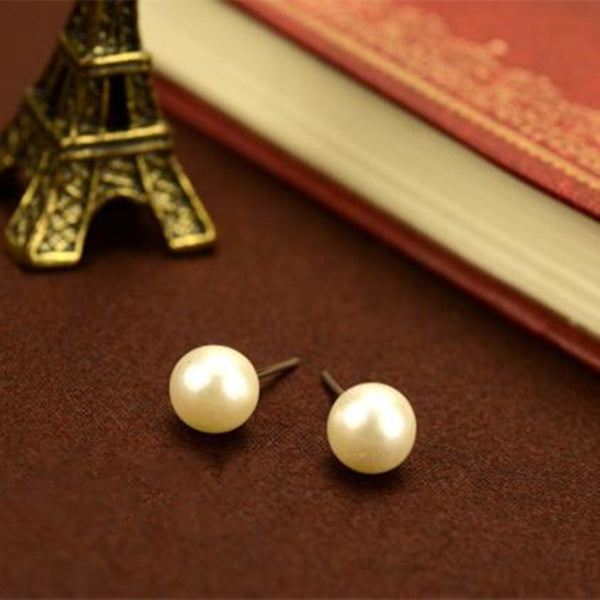 Brincos Hot Trendy Women Ball New Fashion Cute Little 8mm Simple Pearl Stud Earrings String Jewelry Accessories Wholesales - Hespirides Gifts
